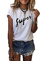 cheap -Women's Vintage Cotton T-shirt - Solid Colored Black & White, Tassel
