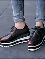 cheap -Women's Shoes Nappa Leather Spring & Summer Comfort / Fashion Boots Sneakers Creepers Closed Toe Burgundy
