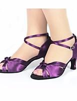 abordables -Femme Chaussures Latines Satin Talon Mince haut talon Chaussures de danse Violet / Utilisation / Cuir / Entraînement