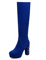 Недорогие -Жен. Обувь Замша Наступила зима Модная обувь Ботинки На толстом каблуке Круглый носок Сапоги до колена Черный / Синий / Для вечеринки / ужина