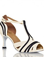 cheap -Women's Latin Shoes Faux Leather Sandal Flared Heel Customizable Dance Shoes Black / White