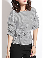 cheap -women's blouse - striped round neck