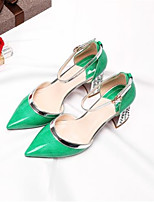 cheap -Women's Shoes Patent Leather Spring & Summer Basic Pump Heels Chunky Heel Pointed Toe Rhinestone Gray / Red / Green