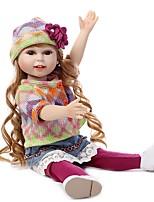 economico -NPKCOLLECTION Bambola di moda Ragazza di campagna 18 pollice Silicone per tutto il corpo / Vinile - Occhi marroni di impianto artificiale Per bambino Da ragazza Regalo