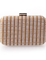 cheap -Women's Bags Polyester Evening Bag Buttons White / Coffee