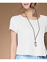 Недорогие -женская льняная / хлопковая футболка - племенная шея