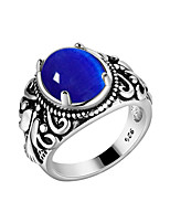 cheap -Men's Band Ring - S925 Sterling Silver Flower Vintage, Korean, Fashion Dark Blue / Red / Green For Party / Masquerade