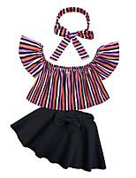 cheap -Toddler Girls' Striped Short Sleeve Clothing Set