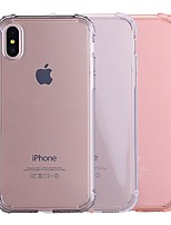 Недорогие -Кейс для Назначение Apple iPhone X / iPhone 8 Защита от удара / Прозрачный Кейс на заднюю панель Однотонный Мягкий ТПУ для iPhone X /