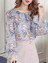 cheap -women's blouse - floral round neck