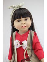 Недорогие -NPKCOLLECTION Модная кукла Девушка из провинции 18 дюймовый Полный силикон для тела / Винил - как живой, Искусственная имплантация Коричневые глаза Детские Девочки Подарок