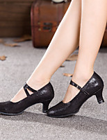 preiswerte -Damen Schuhe für modern Dance Kunststoff Absätze Pailetten Kubanischer Absatz Maßfertigung Tanzschuhe Schwarz / Silber