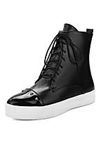 Недорогие -Жен. Обувь Полиуретан Наступила зима Модная обувь Ботинки На плоской подошве Заостренный носок Ботинки Заклепки Черный / Серый