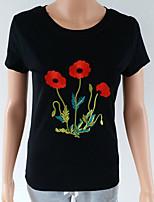 economico -T-shirt Per donna Per uscire / Spiaggia Fantasia floreale