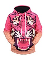 cheap -Men's Long Sleeve Loose Hoodie - Animal, Print Hooded