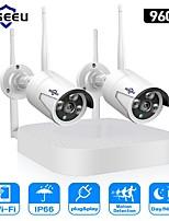 economico -Hiseeu sistema telecamera senza fili cctv 960p 4ch 1.3mp telecamera ip esterna impermeabile p2p sistema di sicurezza domestica kit di videosorveglianza