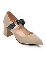 abordables -Mujer Zapatos PU Primavera / Otoño Mary Jane Tacones Talón de bloque Dedo Puntiagudo Negro / Beige / Amarillo