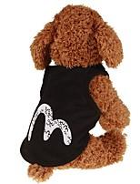 baratos -Cachorros / Gatos / Animais de Estimação Colete Roupas para Cães Simples / Clássico / Carta e Número Preto Tecido Felpudo / Algodão