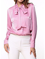 abordables -Mujer Trabajo Camisa, Cuello Camisero Un Color