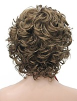 cheap -Synthetic Wig Curly Middle Part Synthetic Hair Fluffy Dark Brown Wig Women's Short Machine Made