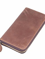 cheap -Women's Bags Cowhide Wallet Zipper Coffee / Brown / Dark Brown