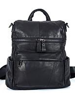 cheap -Unisex Bags Cowhide Backpack Zipper Black
