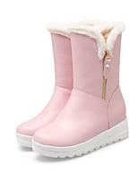 economico -Per donna Scarpe PU (Poliuretano) Autunno inverno Stivali da neve / Fodera di lanugine Stivaletti Piatto Bianco / Nero / Rosa