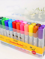 cheap -Markers & Highlighters Pen Pen, Plastics / Oil Multi-Color Ink Colors For School Supplies Office Supplies Pack of 24 pcs