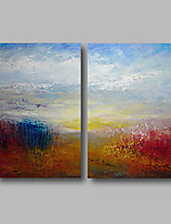 abordables -Pintura al óleo pintada a colgar Pintada a mano - Abstracto / Paisaje Contemporáneo Lona
