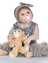 cheap -NPKCOLLECTION Reborn Doll Baby Girl 24 inch Full Body Silicone / Vinyl - lifelike, Artificial Implantation Blue Eyes Kid's Girls' Gift