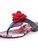 cheap -Women's Shoes Cowhide Summer Comfort Slippers & Flip-Flops Low Heel Open Toe Satin Flower Green / Blue