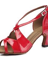 cheap -Women's Salsa Shoes PU(Polyurethane) Sandal / Heel Buckle Slim High Heel Customizable Dance Shoes Light Red