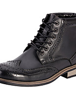cheap -Men's Fashion Boots Cowhide Spring &  Fall Comfort Boots Black / Brown