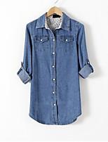 economico -Camicia Per donna Jeans, Tinta unita