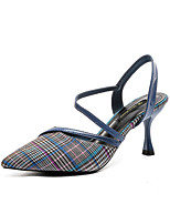 Недорогие -Жен. Обувь Эластичная ткань Лето Туфли Мери-Джейн Обувь на каблуках На шпильке Заостренный носок Черный / Желтый / Синий