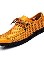 cheap -Men's Shoes Cowhide Summer Moccasin Loafers & Slip-Ons Dark Blue / Yellow / Light Brown