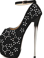 cheap -Women's Shoes Synthetics Fall & Winter Basic Pump Heels Stiletto Heel Peep Toe Rhinestone / Buckle Black / Silver / Wedding