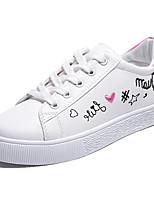 cheap -Women's Shoes PU(Polyurethane) Spring & Summer Comfort Sneakers Walking Shoes Flat Heel Round Toe Black / Blue / Pink