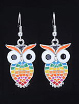 cheap -Women's 3D Drop Earrings - Owl Fashion, British, Oversized Rainbow / Light Red / Light Green For Gift / Holiday