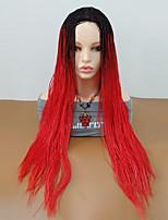 abordables -Pelucas sintéticas Rizado Trenza Pelo sintético Pelo Ombre / Raya en medio / Peluca con trenzas Rojo Peluca Mujer Larga Sin Tapa
