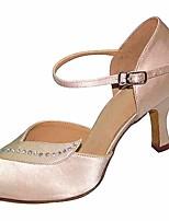 cheap -Women's Latin Shoes Satin Heel Slim High Heel Dance Shoes Black / Almond / Performance / Leather / Practice
