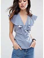 cheap -Women's Basic Shirt - Striped V Neck