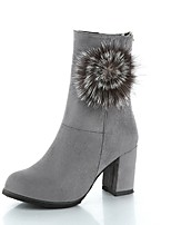cheap -Women's Shoes PU(Polyurethane) Fall Comfort Boots Chunky Heel Mid-Calf Boots Black / Gray