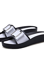 cheap -Women's Shoes Nappa Leather Summer Comfort Slippers & Flip-Flops Flat Heel Peep Toe White / Black