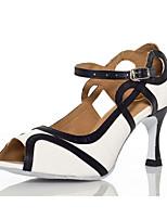 cheap -Women's Latin Shoes Satin Sneaker Sequin Slim High Heel Dance Shoes White / Fuchsia