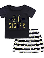 cheap -Kids Girls' Striped Short Sleeve Clothing Set