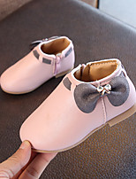 cheap -Girls' Shoes PU(Polyurethane) Fall & Winter Comfort / Fashion Boots Boots Walking Shoes Bowknot for Kids Beige / Gray / Pink / Booties / Ankle Boots
