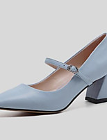 cheap -Women's Shoes Nappa Leather Summer Comfort Heels Chunky Heel Pointed Toe Gray / Blue / Nude