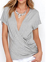 cheap -Women's Vintage Puff Sleeve Cotton T-shirt - Solid Colored Black & White, Tassel