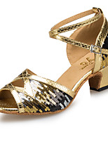 cheap -Women's Latin Shoes Synthetics Heel Paillette Thick Heel Dance Shoes Gold / Silver